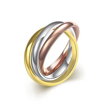 SJTGR004 SJ Personalized Intertwined Three Tone Gold Plating Titanium Steel Colorful Fashion Ring   http://wholesaler.alibaba.com/product-detail/SJTGR004-SJ-Personalized-Intertwined-Three-Tone_60449840563.html