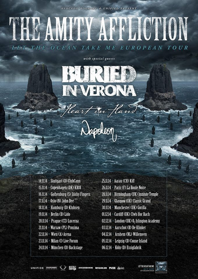 "NEWS: The metal band, The Amity Affliction, have announced a fall tour in Europe and the UK, with Buried In Verona, Heart In Hand and Napoleon, as support. The tour is titled the ""Let The Ocean Take Me European Tour."" You can check out the dates and details at http://digtb.us/1nPbksB"