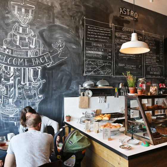 In terms of the environment, Astro is a relaxed place – we really like the Heath Robinson coffee machine drawing on the floor-to-ceiling chalkboard – and everything is out in the open, from the exposed brick to the product sourcing...