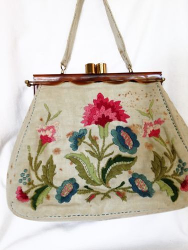 Vintage Crewel Purse