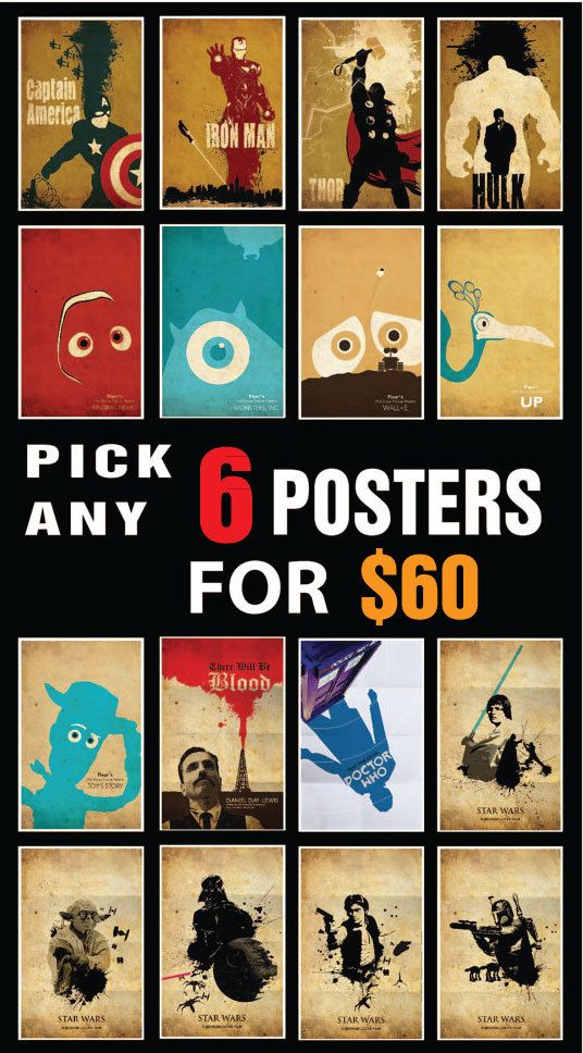 Promotion Pick any 6 posters from my shop by posterexplosion, $60.00 --Our home theater needs more decor anyway!