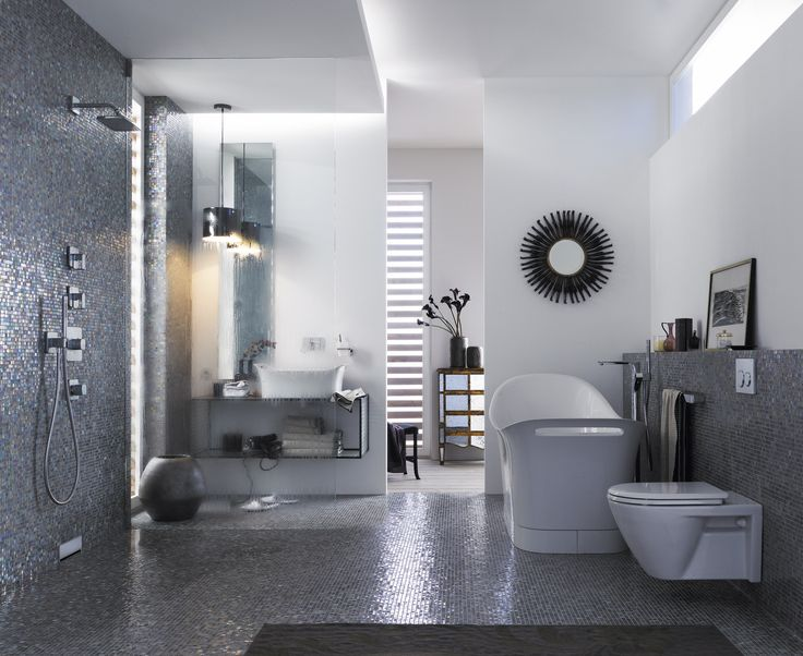 this master bathroom draws on celebrity interior design inspiration with iridescent tiles and modern features such as the geberit in wall toilet system: architecture bathroom toilet