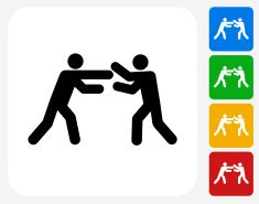 Fighting Stick Figures Icon Flat Graphic Design vector art illustration