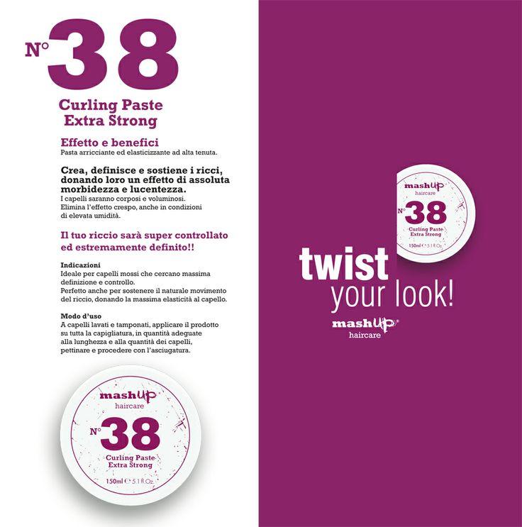 TWIST YOUR LOOK! L'ULTIMA NOVITA' di Mashup Haircare, Ideale per capelli mossi che cercano massima definizione e controllo. Il nuovo trattamento arricciante, dagli effetti clamorosi! n.38 CURLING PASTE EXTRA STRONG, perfetto anche per sostenere il naturale movimento del riccio, donando la massima elasticità al capello. Infoline 800103661 info@mashuphaircare.com