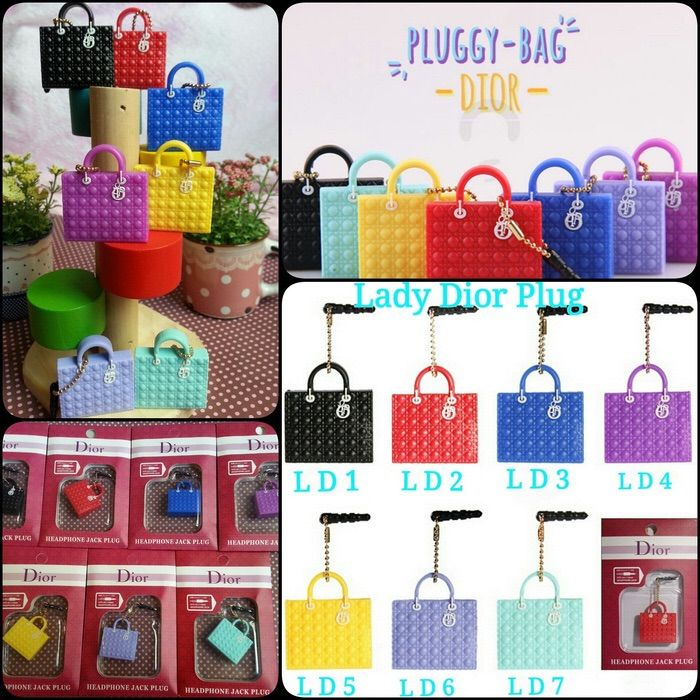 Koleksi Jewelry Pluggy (Min 2 Pcs) :  Kode : AWS-191, Nama : Branded Bags Pluggy Gantungan HP, Price : IDR 22.5, Model : Dior  (LD 1-7, CD 1-5, DR 1-6)