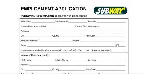 Subway Job Application Form Online Printable Job Applications Job Application Job Application Form