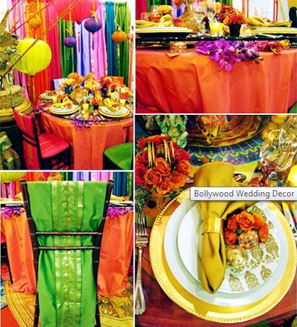Decorate the ceremony and reception Bollywood style by hanging tapestries or rent a tent and decorate the ceiling with the fabrics, colors, and intricate interior design of Bollywood culture.