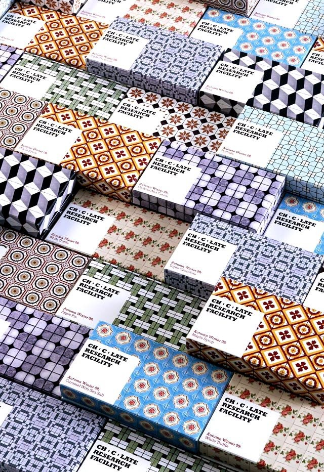 Patterns as chocolate bar packaging for the autumn / winter 2009 Chocolate Research Facility's colection by Somewhere Else / Singapore