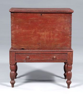 Red painted sugar chest, Glasgow, Kentucky, 19th C.
