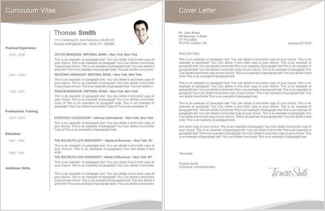 Elegant Resume Template - Premium line of Resume \ Cover Letter - microsoft cover letter templates