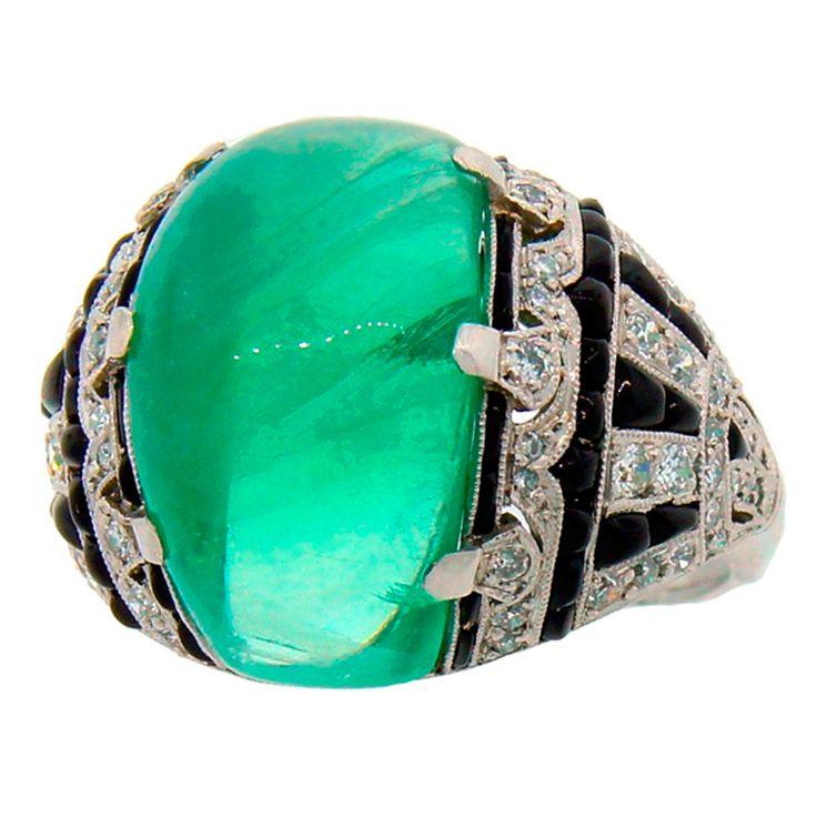 Art Deco Cabochon Emerald, Diamond, Black Onyx & Platinum Ring #jewelry