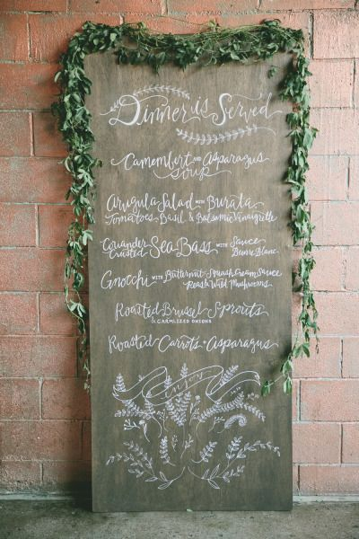 Menu signage: http://www.stylemepretty.com/2014/03/05/gourmet-wedding-details-for-the-food-obsessed/