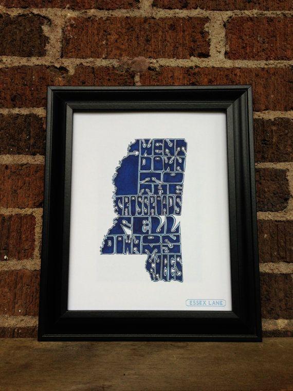Robert Johnson - Crossroad Blues - 8x10 Hand Drawn Illustration Print - Mississippi - $32