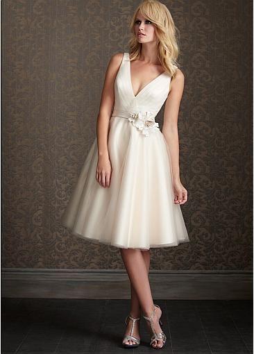 Amazing Glamorous Tulle A-line V-neck Neckline Natural Waistline Short Wedding Dress