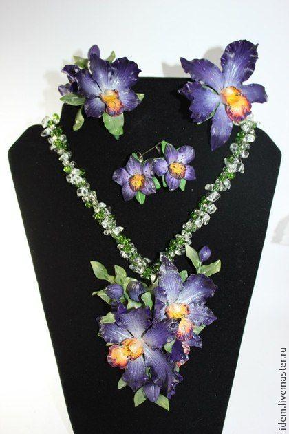 Комплекты украшений ручной работы. Ярмарка Мастеров - ручная работа фиолетовые орхидейки. Handmade.