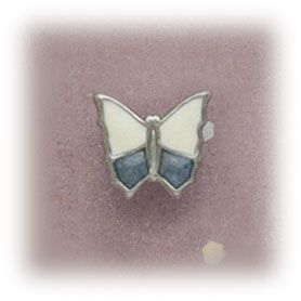Simply Whispers hypoallergenic and nickel free Jewelry earrings Stainless Steel clip on Butterfly white and denim