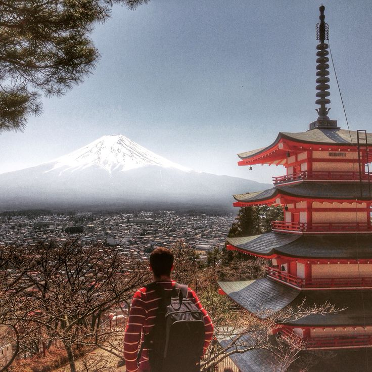 Mount Fuji view from Chureido Pagoda, in Japan