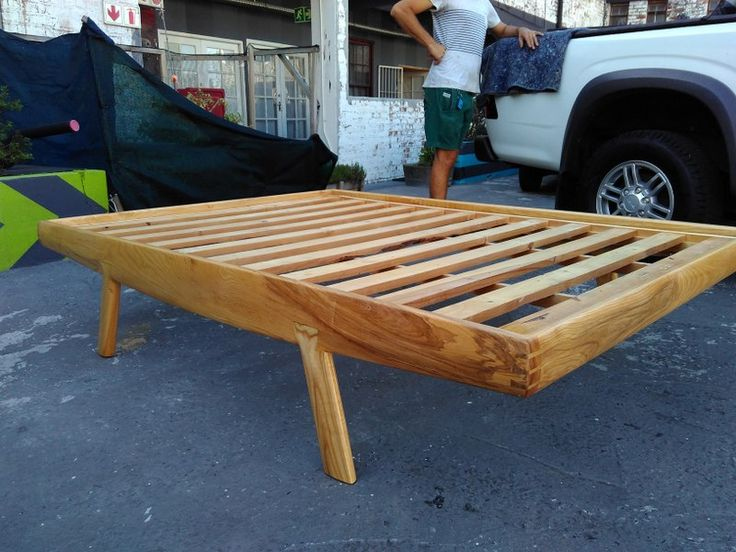 Handmade bed in solid ash.