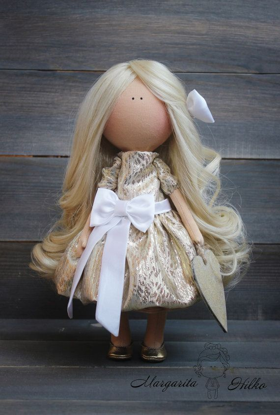 Decor doll Beauty doll handmade gold white colors blonde Angel doll Rag doll Art doll Tilda doll unique magic doll by Master Margarita Hilko