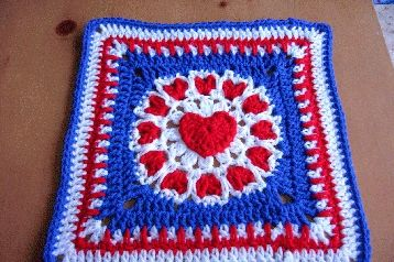 Red, white and bleu granny with love and tulips