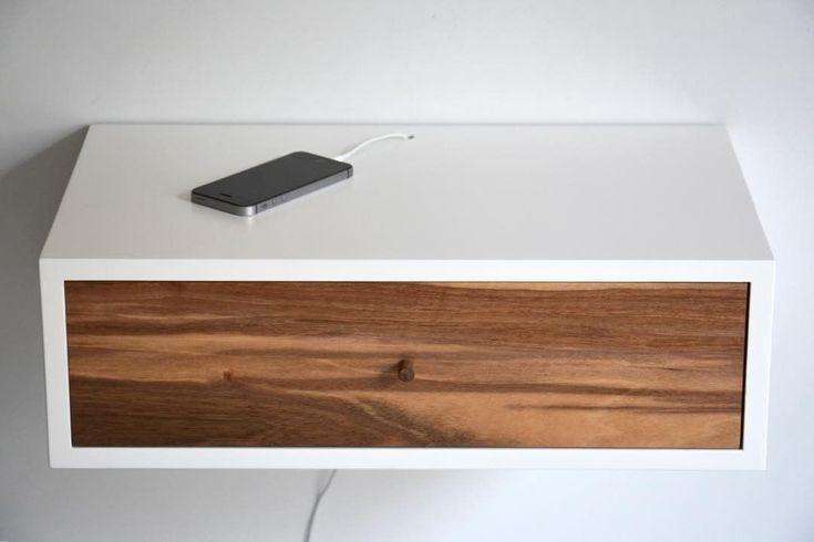 """9 kedvelés, 1 hozzászólás – MyBetterShelf (@mybettershelf) Instagram-hozzászólása: """"Floating nightstand with walnut drawer and custom hole for cables www.mybettershelf.com #floating…"""""""