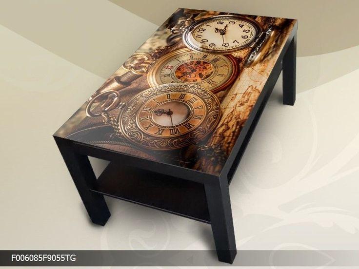 Details Zu Modern Tisch Couchtisch Glastisch Beistelltisch Sofatisch Antike Uhr 90x55 Cm