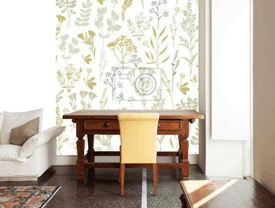 Rysowane ręcznie bez szwu kwiatowy wzór z ziołami Naklejki na laptopa • Naklejki na ścianę papier pakowy, lukrecja, oregano | myloview.pl