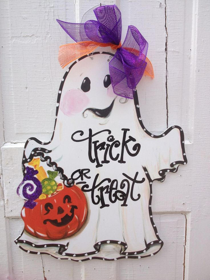 Halloween ghost door hanger.  So cute! Free personalization with your name or any greeting of your choice.