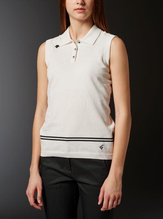 デサントゴルフ|クールギアニット スリーブレスシャツ|レディース ポロシャツ|Descente Golf Polo Shirt
