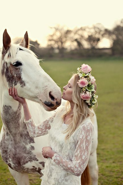bride in a lace dress + horse + floral crown