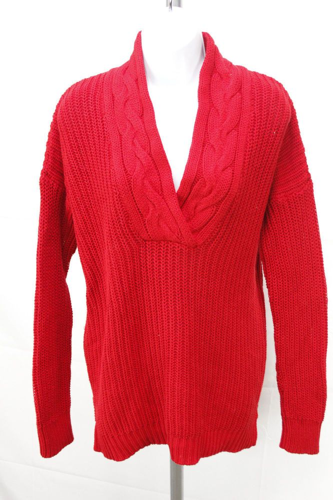 e9ebce49e25f9 Lauren Ralph Lauren Womens Size M Red Cable Knit Cowl Neck Long Sleeve  Sweater  fashion  clothing  shoes  accessories  womensclothing  sweaters  (ebay link)