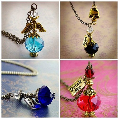 """DIY Inspiration: Harry Potter Potion Bottle Necklaces from Enchanted Wonderland - no longer an Etsy seller. These mini bottles are made from crystal beads, bead caps and other jewelry findings. Photos Clockwise: Magic Wings Potion Necklace. """"It will give you a pair of wings and you will have the ability to fly among the sky."""" Draught of Living Death Potion Necklace. """"The """"Draught of Living Death"""" is an extremely powerful sleeping potion. It sends the drinker ..."""