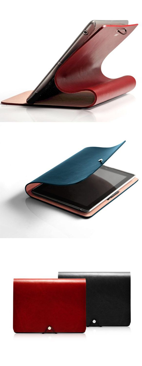 Leather iPad Case in red or blue - love how it folds over to support the screen #practical #style
