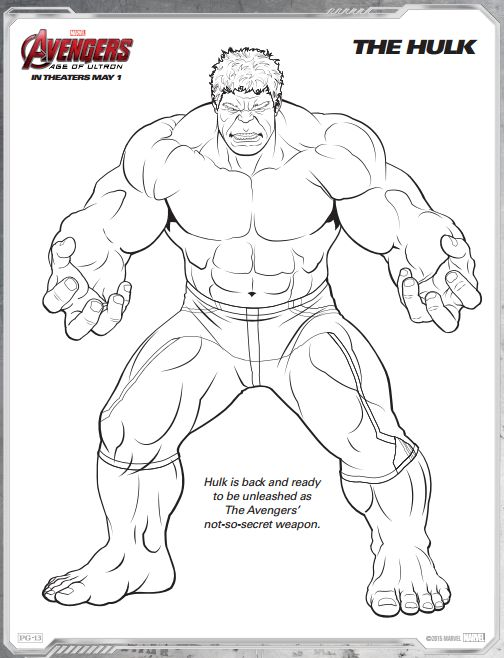 Hulk Avengers Age Of Ultron Free Printable Coloring Pages