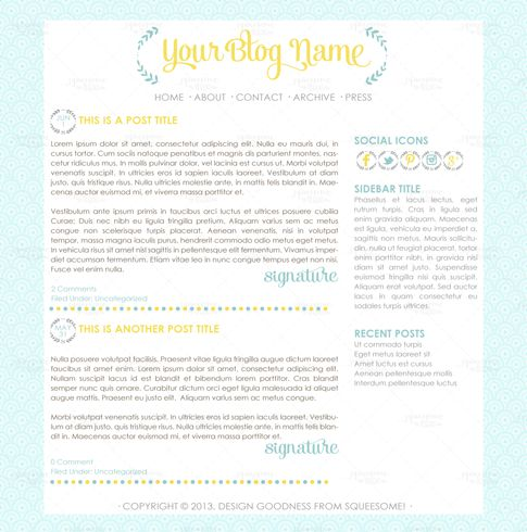 Blog Design - Ramona #premade #wordpress #theme #design #light #blue #yellow #blogdesign
