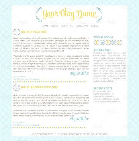 Blog Design - Ramona #premade #wordpress #theme #design #light #blue #yellow #blogdesign