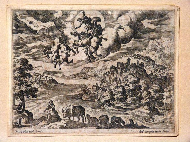 Antiquité Gravure baroque par Antonio Tempesta paysage et char de Jupiter édition Van Aelst