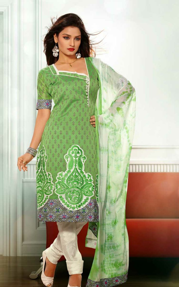 GREEN & OFF WHITE CHANDERI COTTON SALWAR KAMEEZ - RUD 33004A
