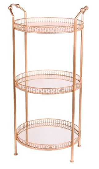 Privilege 3-tier iron side table x Houzz.com Seen in LaurDIY's LA apartment tour - love the copper/brass rim detail and mirror base, cute idea for storing and displaying makeup :)  http://www.houzz.com/photos/49420106/3-Tier-Iron-Side-Table-Champagne-contemporary-side-tables-and-end-tables