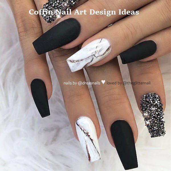 20 Trendy Coffin Nail Art Designs Nailartideas White Acrylic Nails Cute Acrylic Nail Designs Coffin Nails Designs