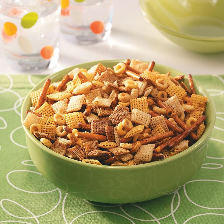 Healthy Party Snack Mix Recipe -Party mix has always been a tradition in our home. I lightened my mom's recipe, replacing margarine with heart-healthy olive oil. No one even noticed. —Melissa Hansen, Rochester, Minnesota