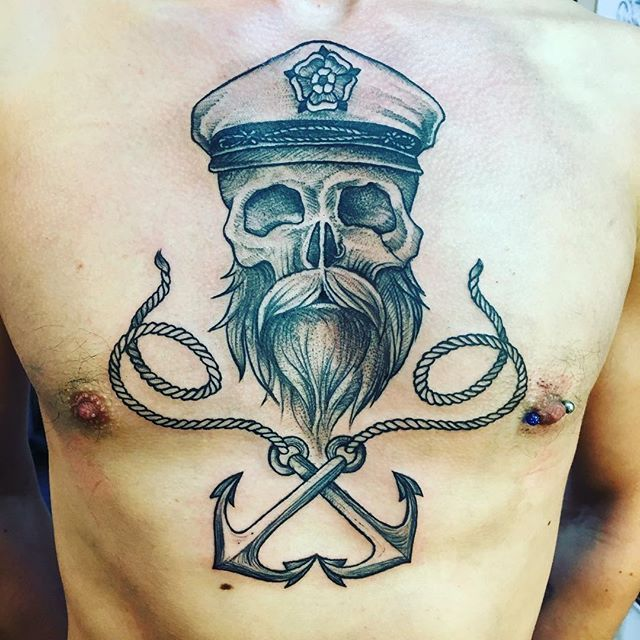 New chest piece done on @samuel.whitelegg. Looking forward to adding more to it. #chestpiecetattoo #beardtattoo #beardskulltattoo #beardskull #anchors #anchortattoo