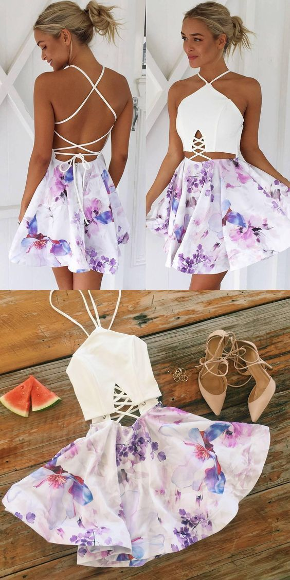 A-Line V-Neck Lace-up Short Floral Polyester Homecoming Dress C06