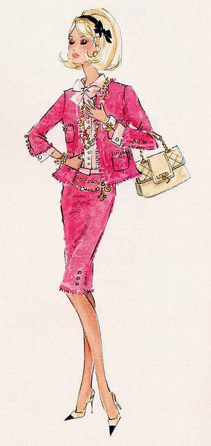Robert Best Barbie Calendar pink Chanel suit