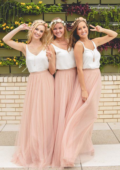 Revelry's bridesmaid Skylar tulle skirt is available in 20+ colors! Blush, purple, nudes, anything you can imagine! Shop trendy, affordable, designer quality bridesmaids dresses and bridesmaids separates by Revelry - under $150. Mix and match bridesmaids separates for the Pinterest perfect look! Try on bridesmaid dresses at home and enjoy free shipping on Sample Boxes. Swoon over our fashion-forward collection featuring convertible bridesmaid dresses and mix & match dresses in chiffon…