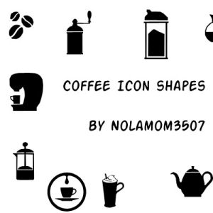 Coffee Icon Shapes for Photoshop