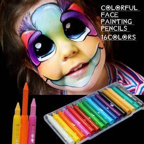 16 Colors Safe Non-Toxic Face Body Painting Pen Art Halloween Party Fancy Dress Beauty Makeup Tool For Christmas Body Paint Pen #facepainting