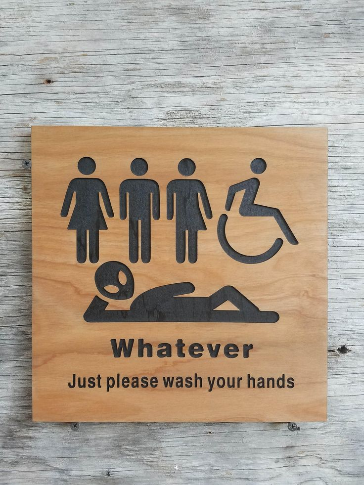 All Gender Bathroom Sign Whatever Just Wash Your Hands Alien Sign by Southernkeeps on Etsy