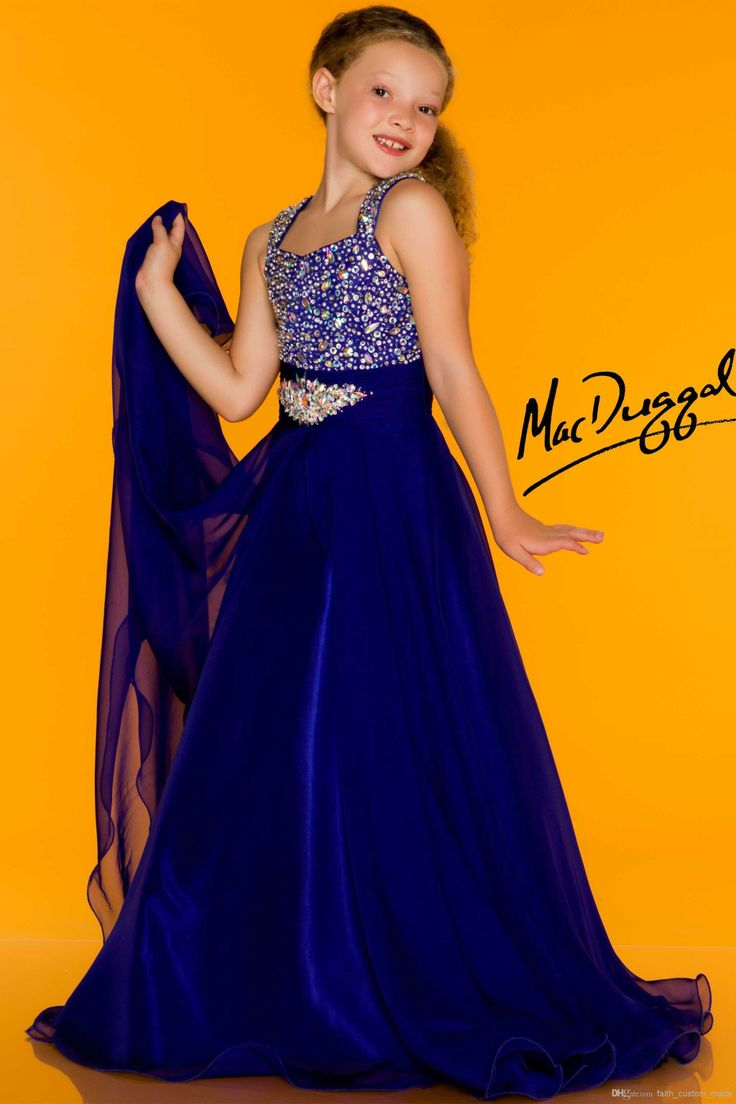 Wholesale Girl's Pageant Dresses - Buy Royal Blue Red Girl's Pageant Dresses Side Drapes MacDuggal Spaghetti Strap Crystal Beaded Floor Length 42784S, $92.0 | DHgate