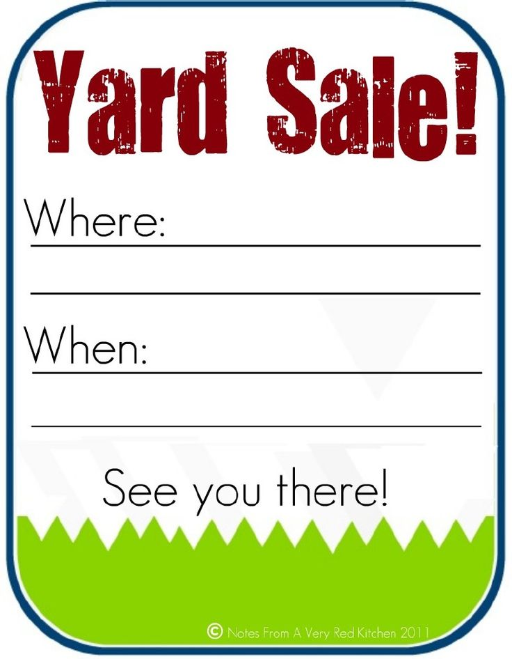 Yard Sale Printable Copyright Katie Lewis Notes From a Very Red Kitchen 2011